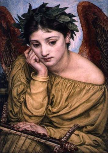 MAA122468 Erato, Muse of Poetry, 1870 (w/c on paper) by Poynter, Sir Edward John (1836-1919) watercolour on paper laid down on board 47x33 Private Collection © The Maas Gallery, London, UK English, out of copyright